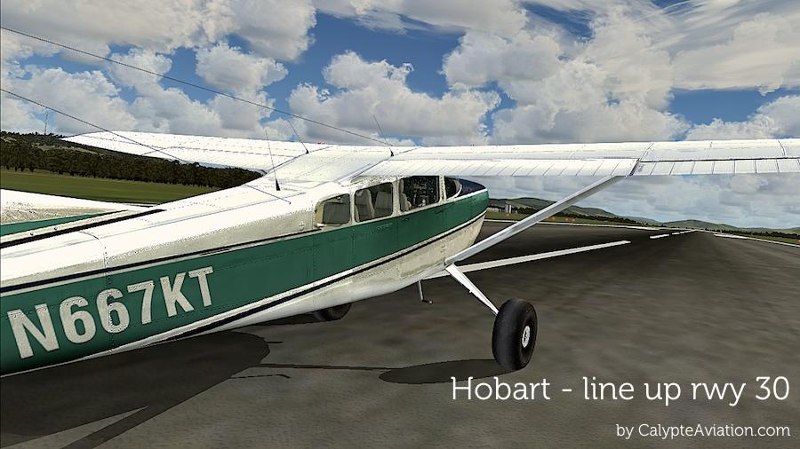 Hobart - line up rwy 30