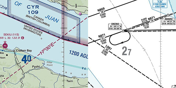 17E variation on U.S. Sectional 4E variation on Polish RNAV Route Chart
