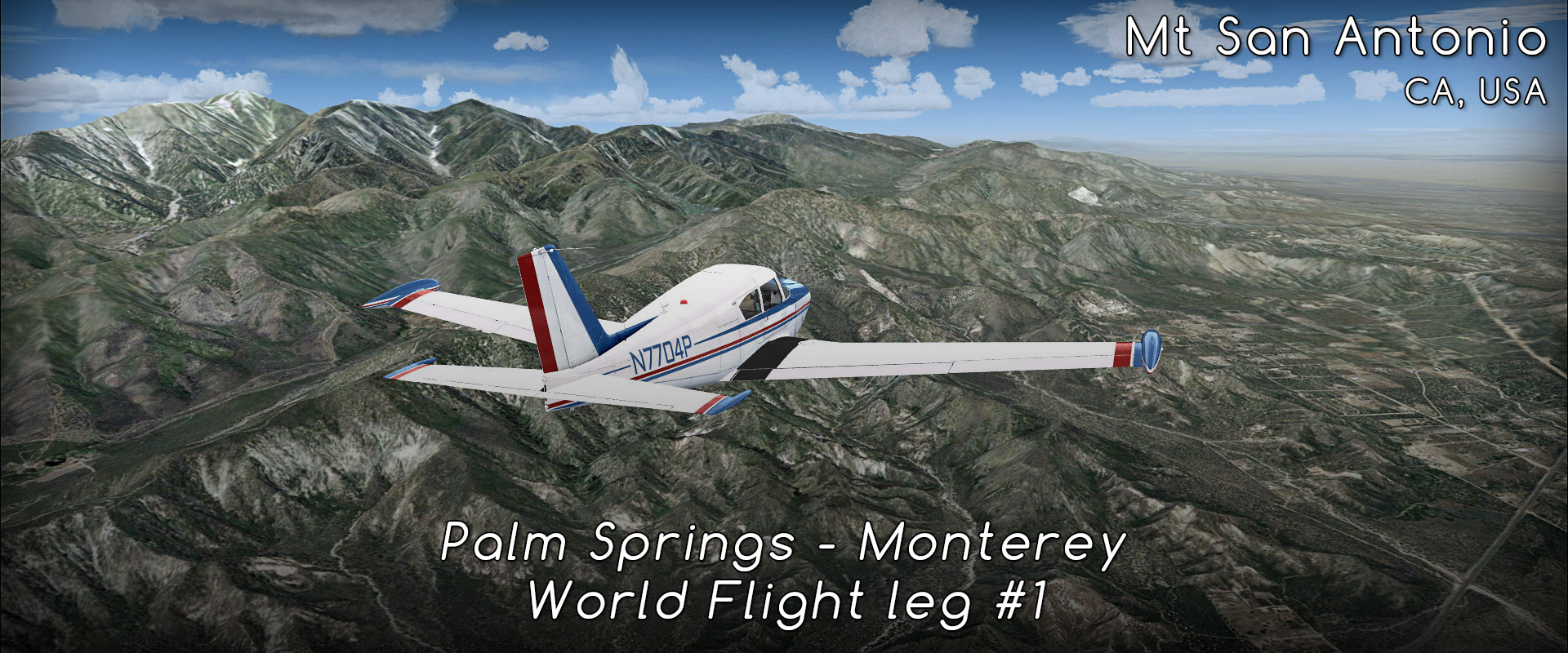 World Flight #1 Palm Springs to Monterey (KPSP-KMRY)