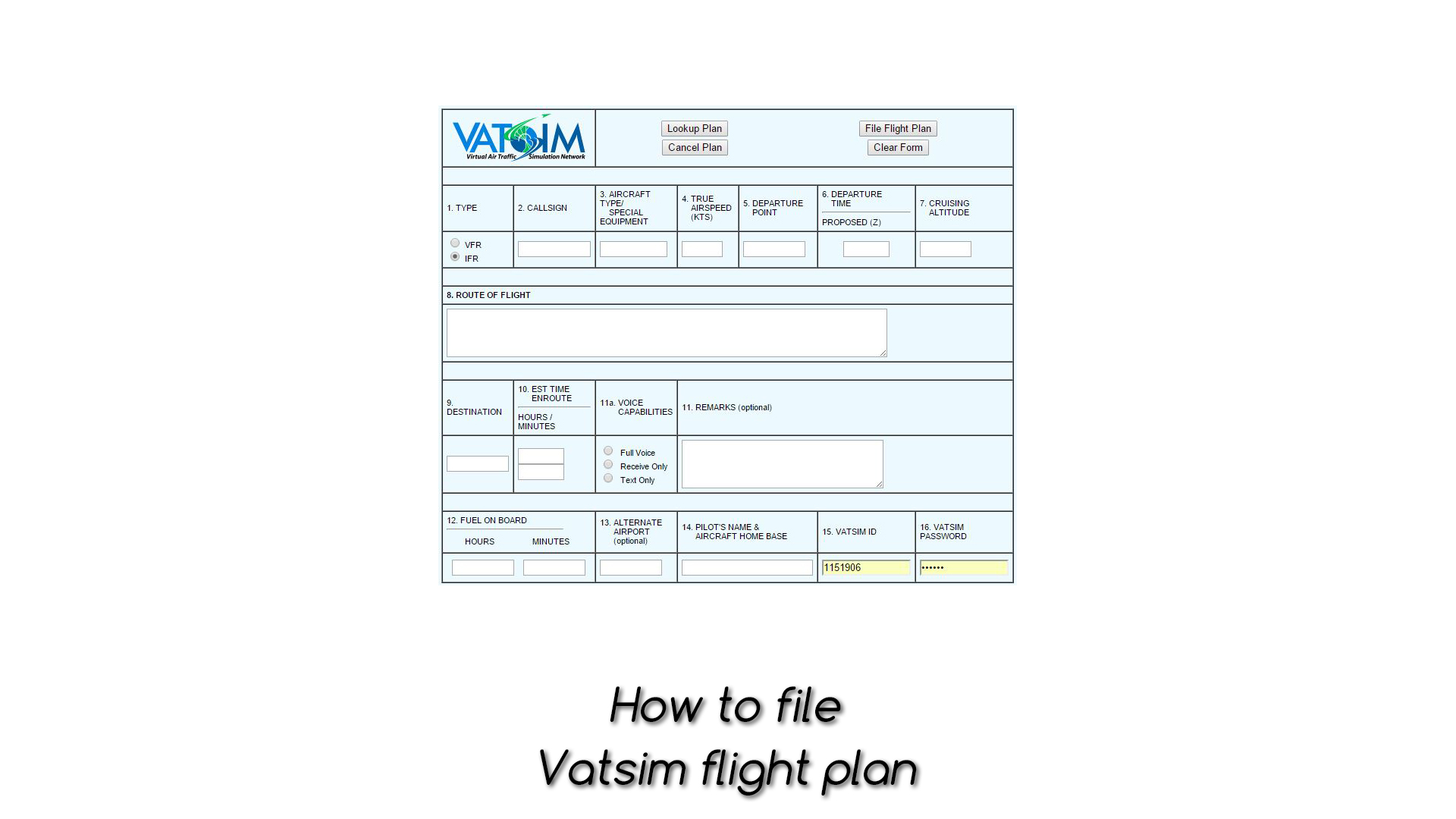 How to file Vatsim flight plan