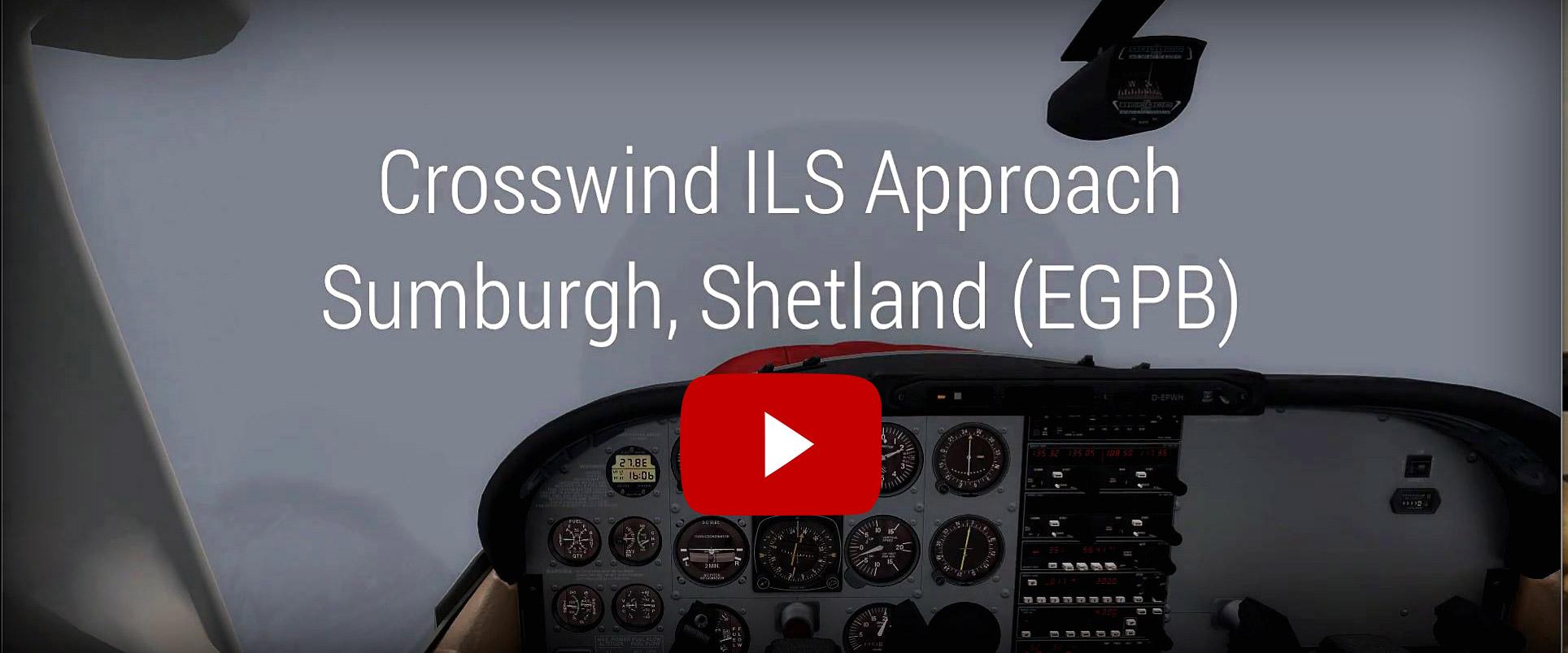 ILS Approach and Crosswind Landing in Sumburgh