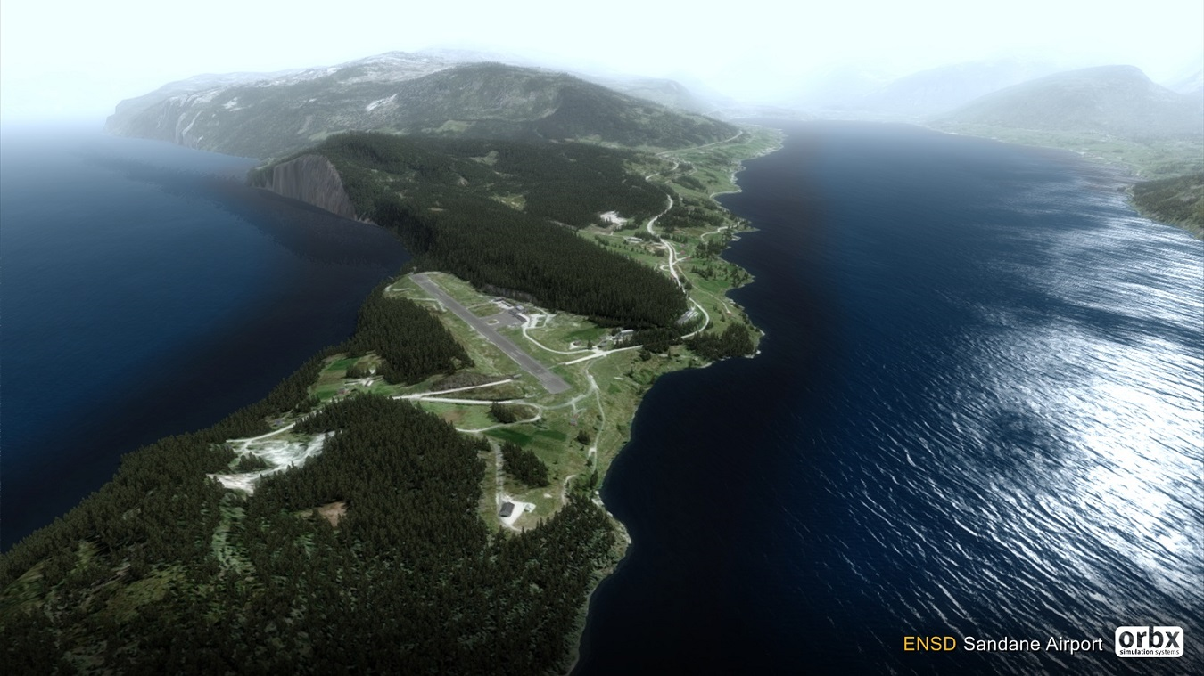 ORBX ENSD Sandane Airport - on short final